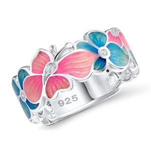 Exquisite 925 Sterling Silver floral ring